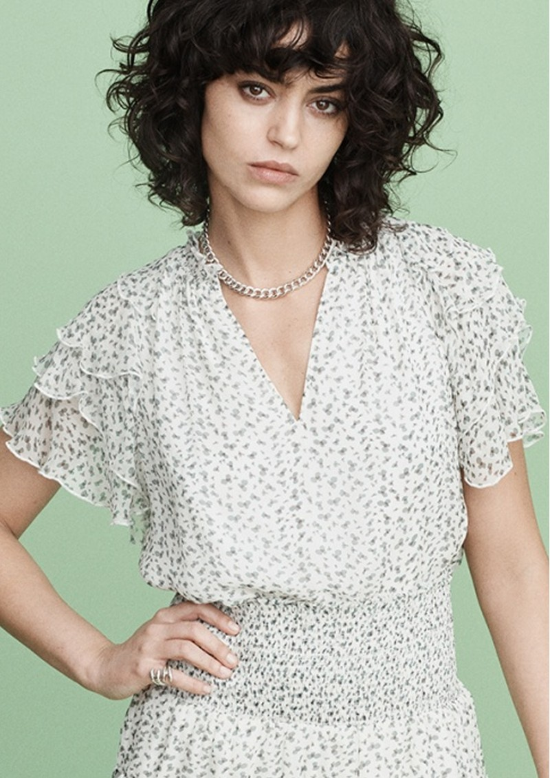 MAYLA Ellie Frill Printed Top - Blossom main image
