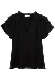 MAYLA Ellie Frill Top - Black