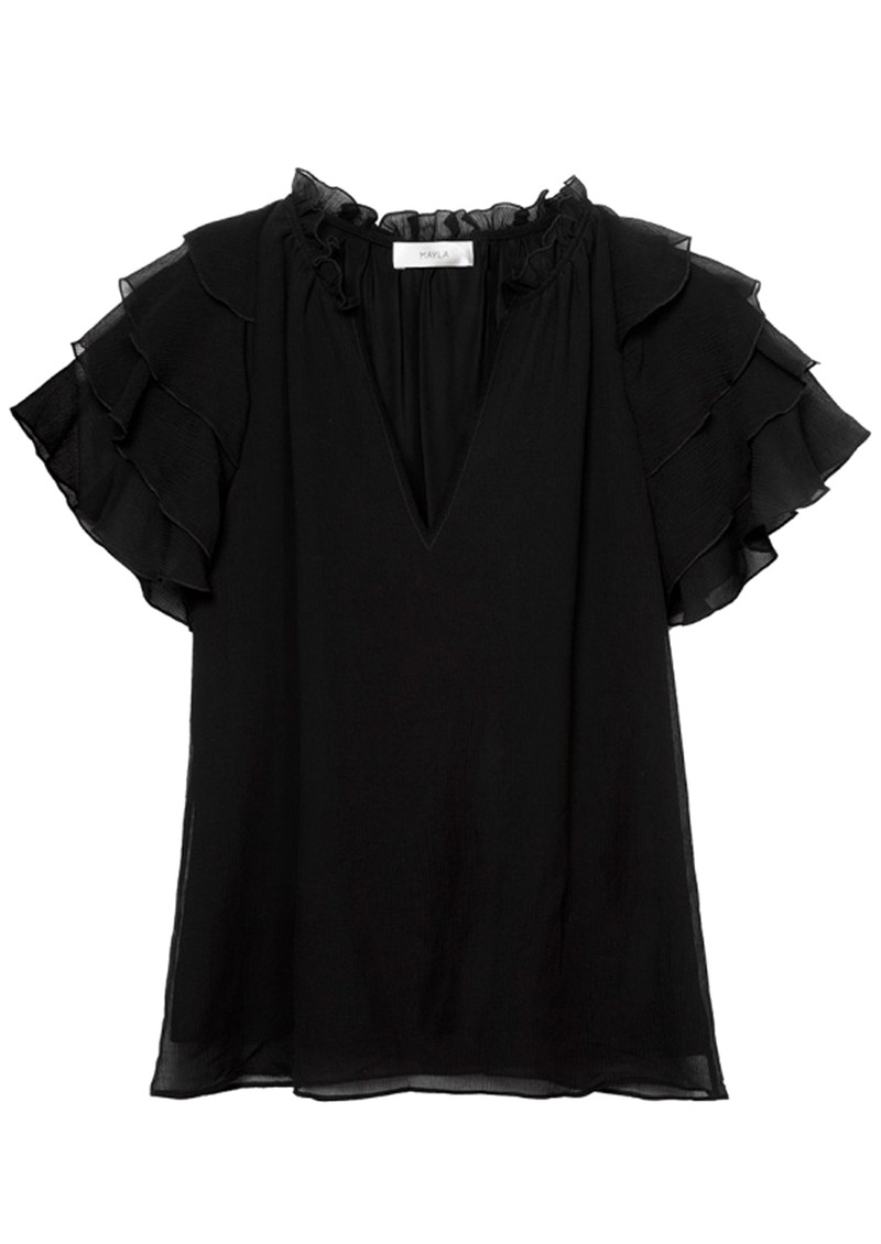 MAYLA Ellie Frill Top - Black main image