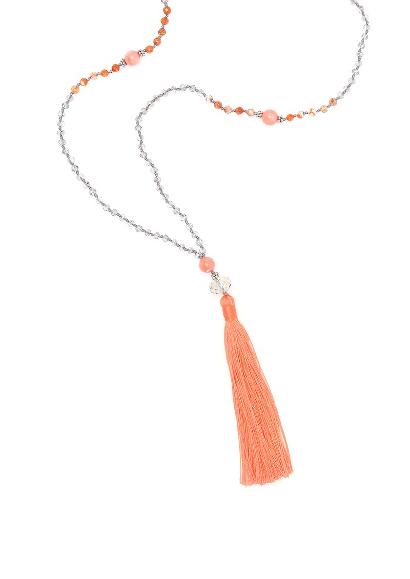 TRIBE + FABLE Single Tassel Necklace - Coral and Crystal main image