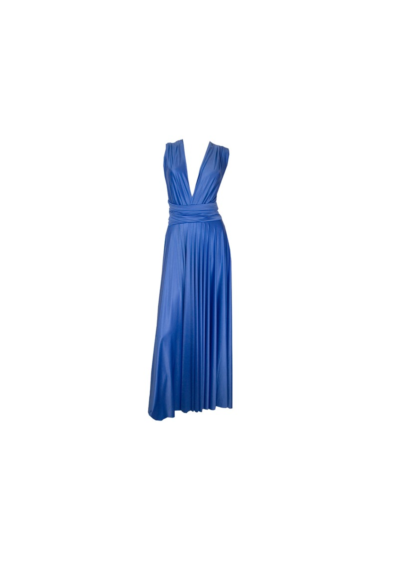 Butter By Nadia Long Satin Gown - Indigo main image