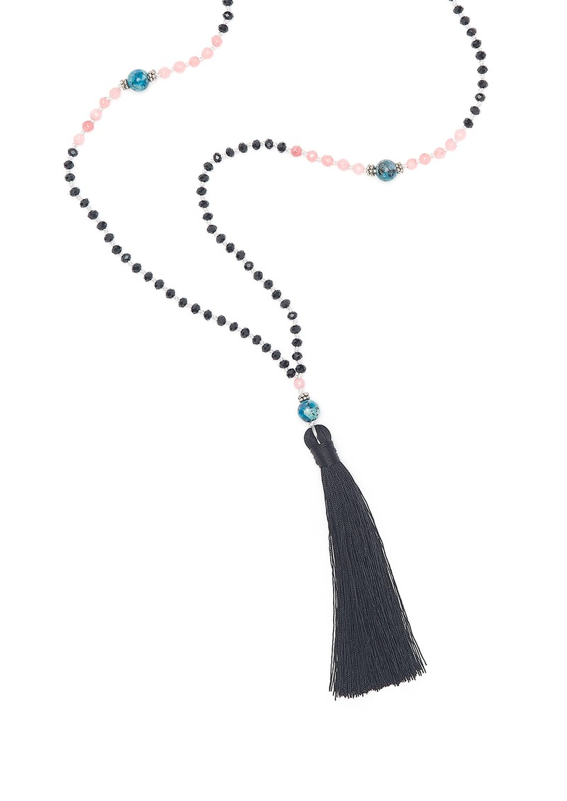 TRIBE + FABLE Single Tassel Necklace - Black, Pink and Turquoise main image