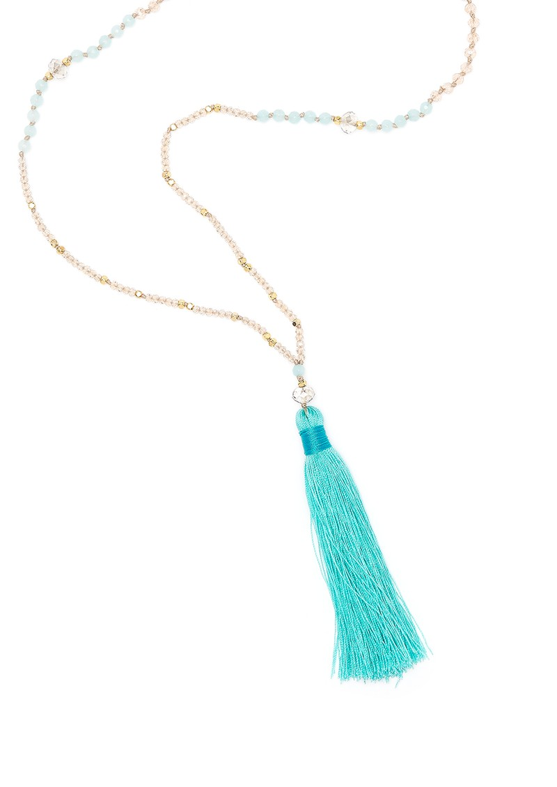 TRIBE + FABLE Single Tassel Necklace - Turquoise & Gold main image
