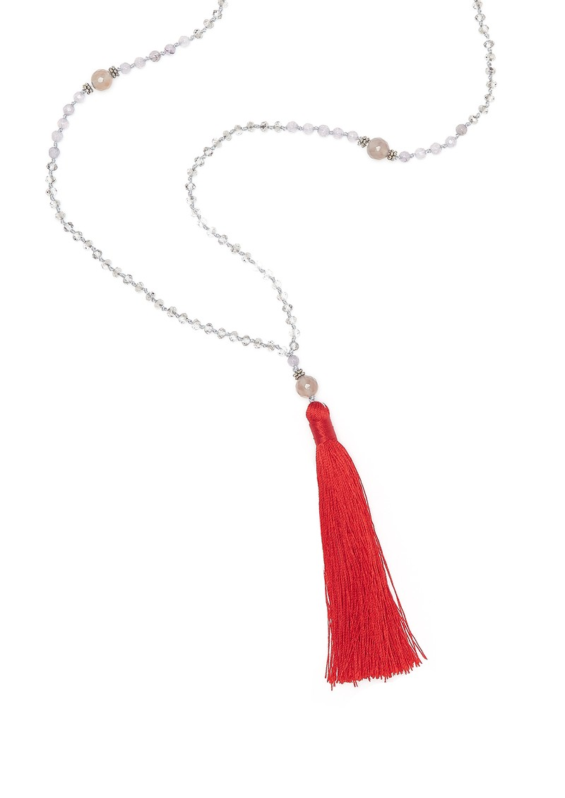 TRIBE + FABLE Single Tassel Necklace - Red & Grey Agate main image