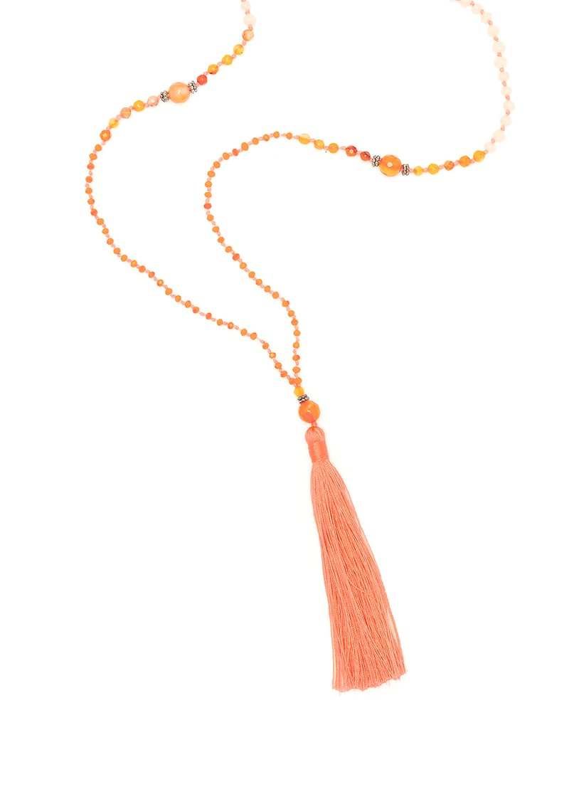 TRIBE + FABLE Single Tassel Necklace - Coral Agate main image