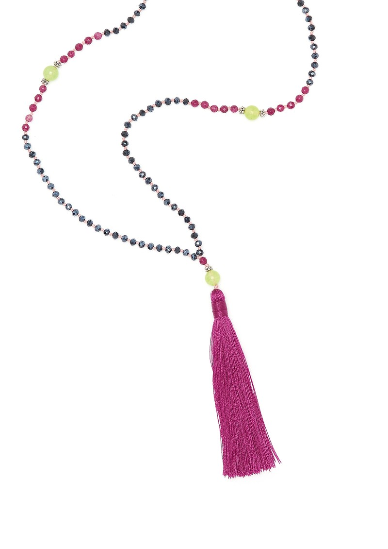 Single Tassel Necklace - Burgundy & Green main image