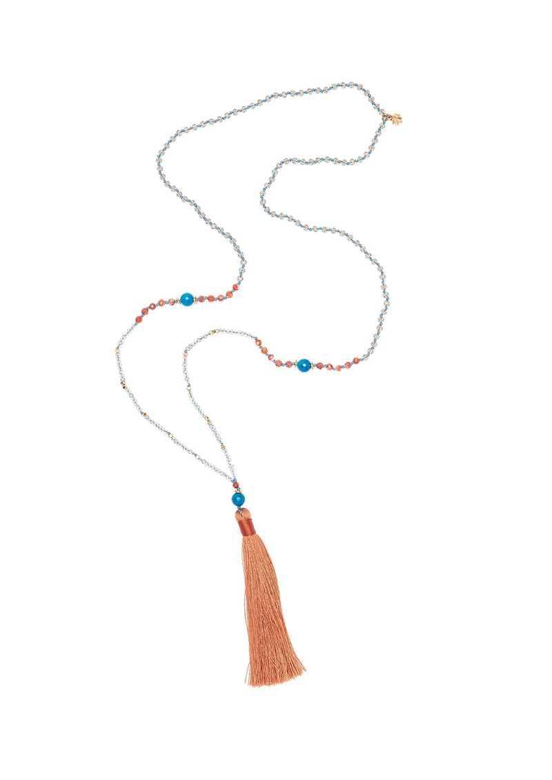 TRIBE + FABLE Single Tassel Necklace - Coral, Blue & Orange main image