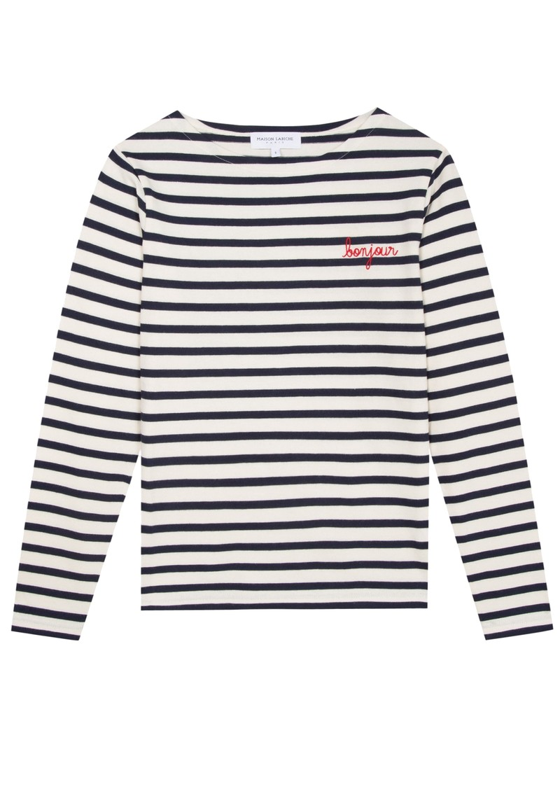 Sailor Long Sleeve Cotton Bonjour Tee - Ivory Navy main image