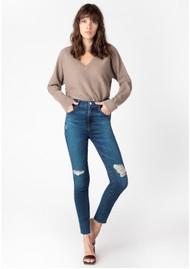 J Brand Leenah Super High Rise Ankle Skinny Jeans - Arcade Destruct