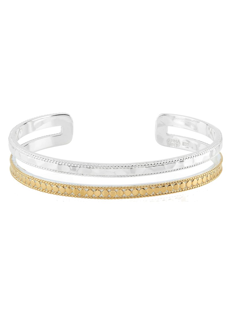 ANNA BECK Signature Hammered & Dotted Double Band Cuff - Gold & Silver main image