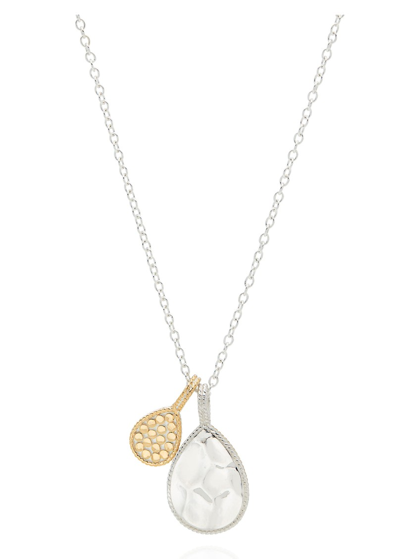 Signature Hammered & Dotted Double Drop Necklace - Silver & Gold main image