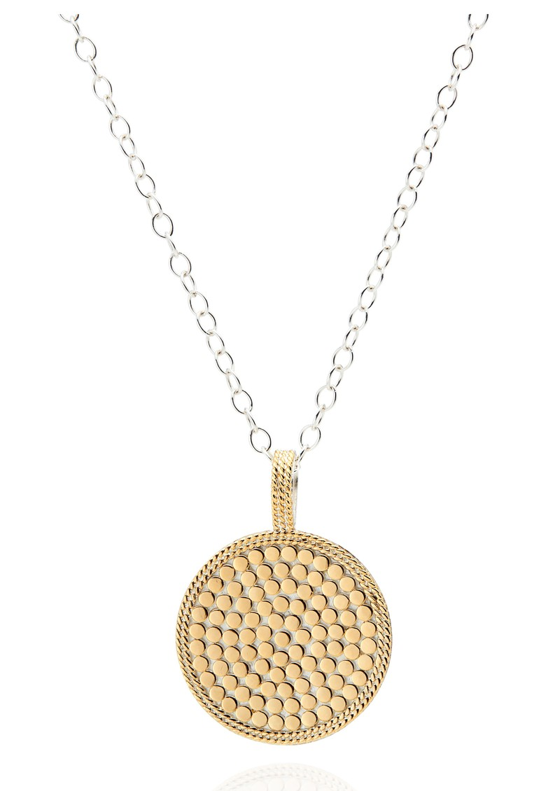 Signature Hammered & Dotted Reversible Circle Pendant Necklace - Gold & Silver main image