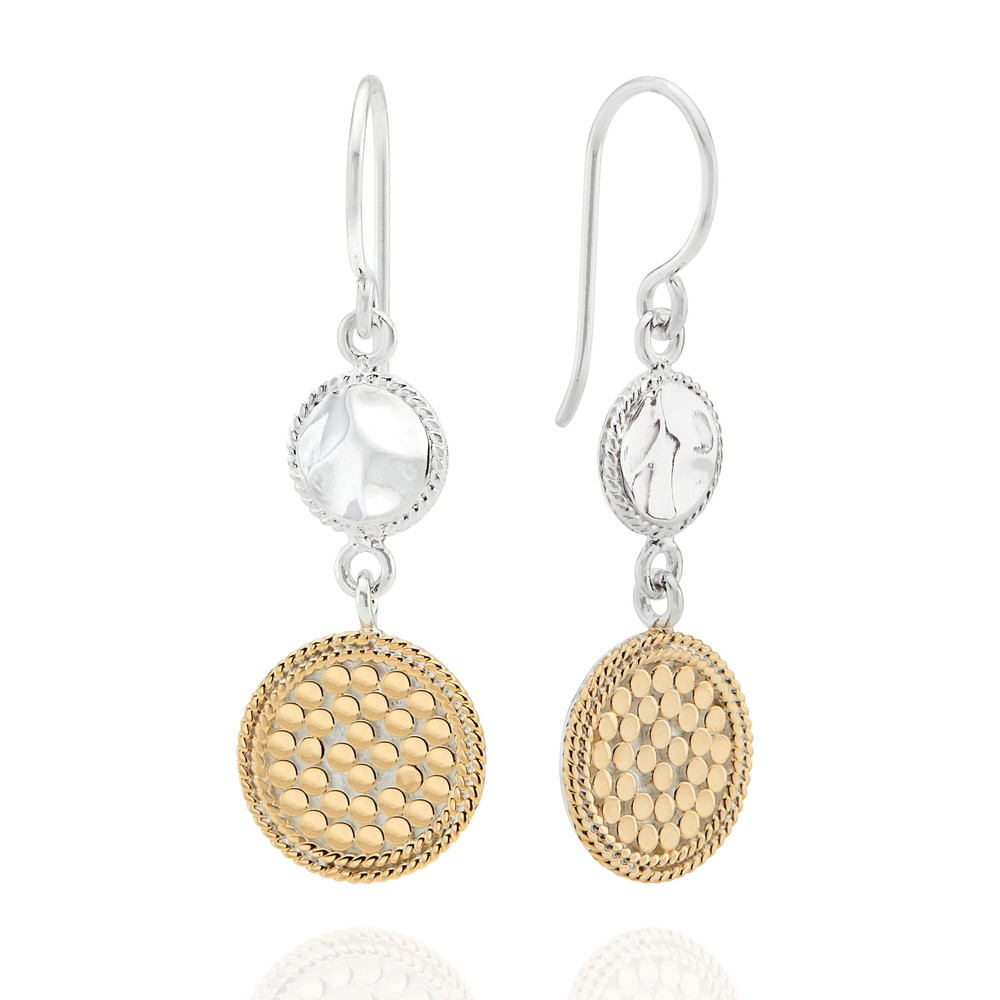 Signature Hammered & Dotted Double Drop Earrings - Gold & Silver