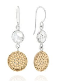 ANNA BECK Signature Hammered & Dotted Double Drop Earrings - Gold & Silver