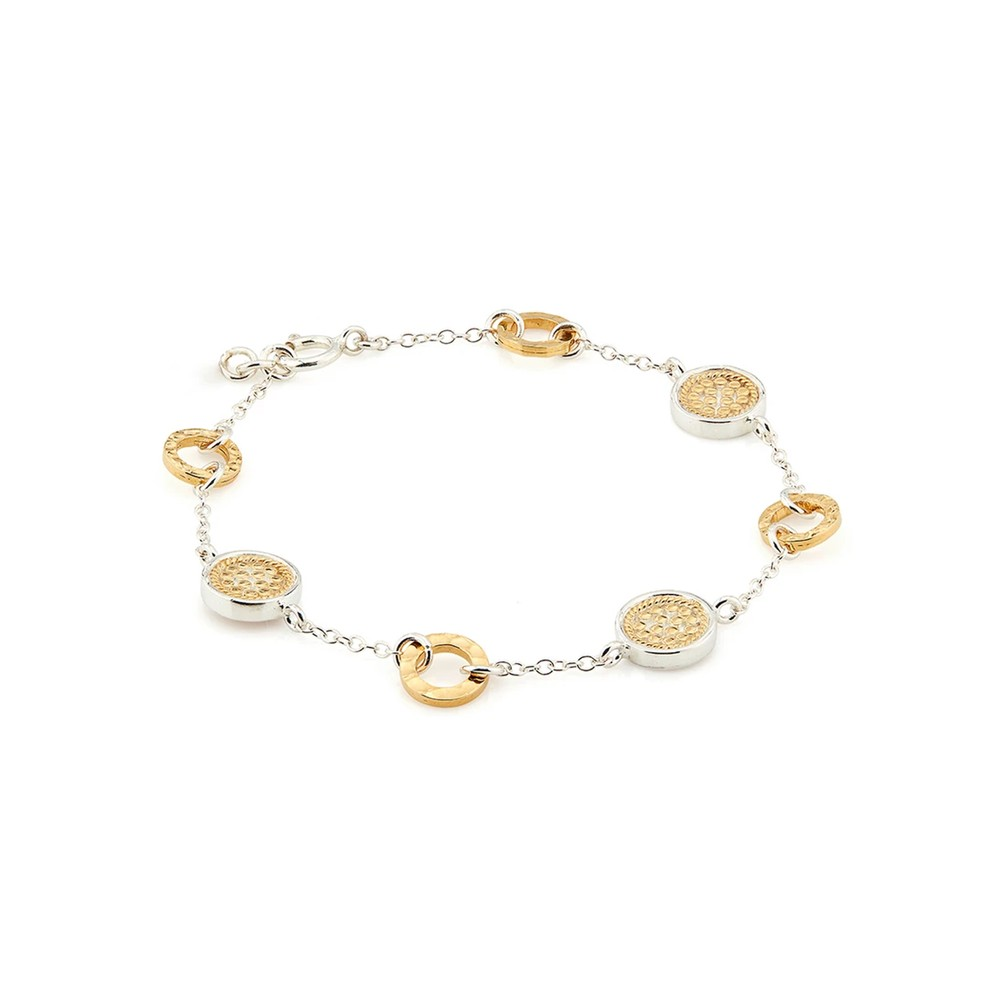 Signature Hammered Station Bracelet - Gold & Silver