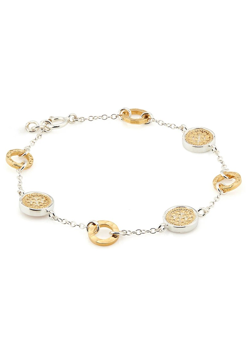 ANNA BECK Signature Hammered Station Bracelet - Gold & Silver main image