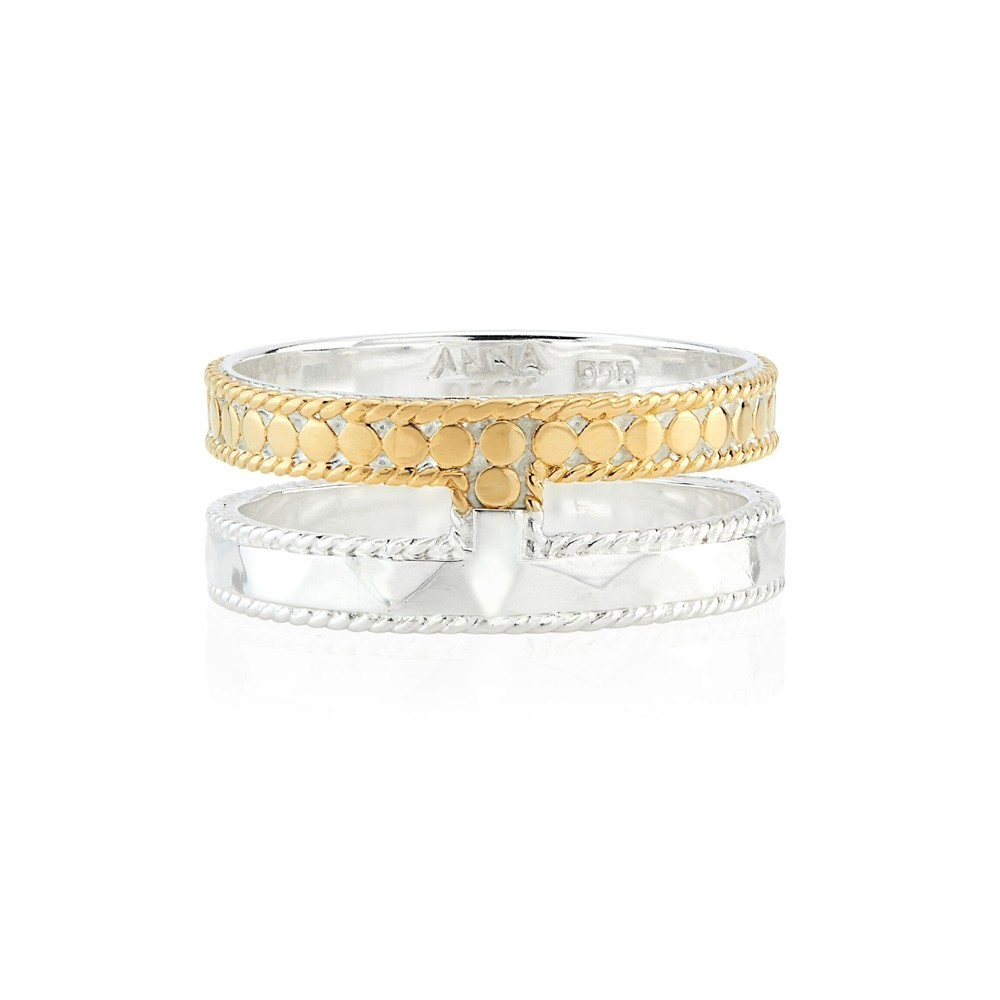 Signature Hammered & Dotted Double Band Ring - Gold & Silver