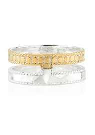 ANNA BECK Signature Hammered & Dotted Double Band Ring - Gold & Silver