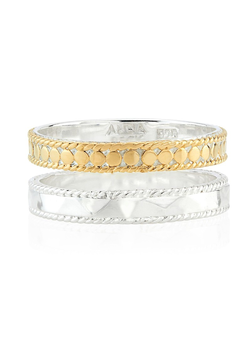 ANNA BECK Signature Hammered & Dotted Double Band Ring - Gold & Silver main image