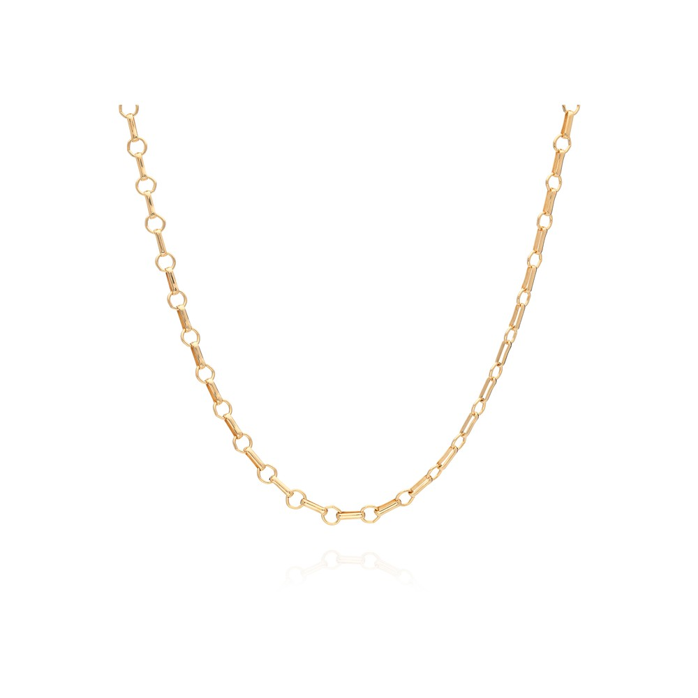 Signature Bar & Ring Chain Choker Necklace - Gold