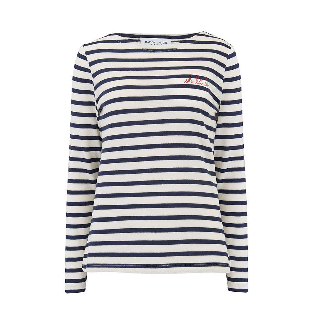 Sailor Long Sleeve Cotton Oh La La Tee - Ivory Navy