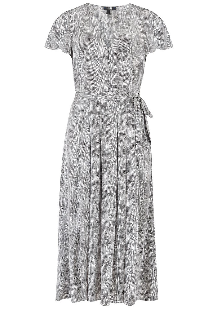 Paige Denim Alayna Python Printed Midi Dress - Silver main image