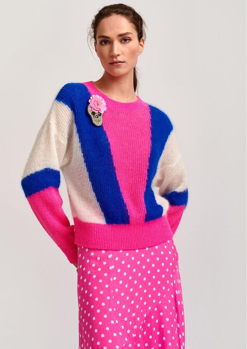 ESSENTIEL ANTWERP Vermouth Sweater - Pink, Blue & White main image