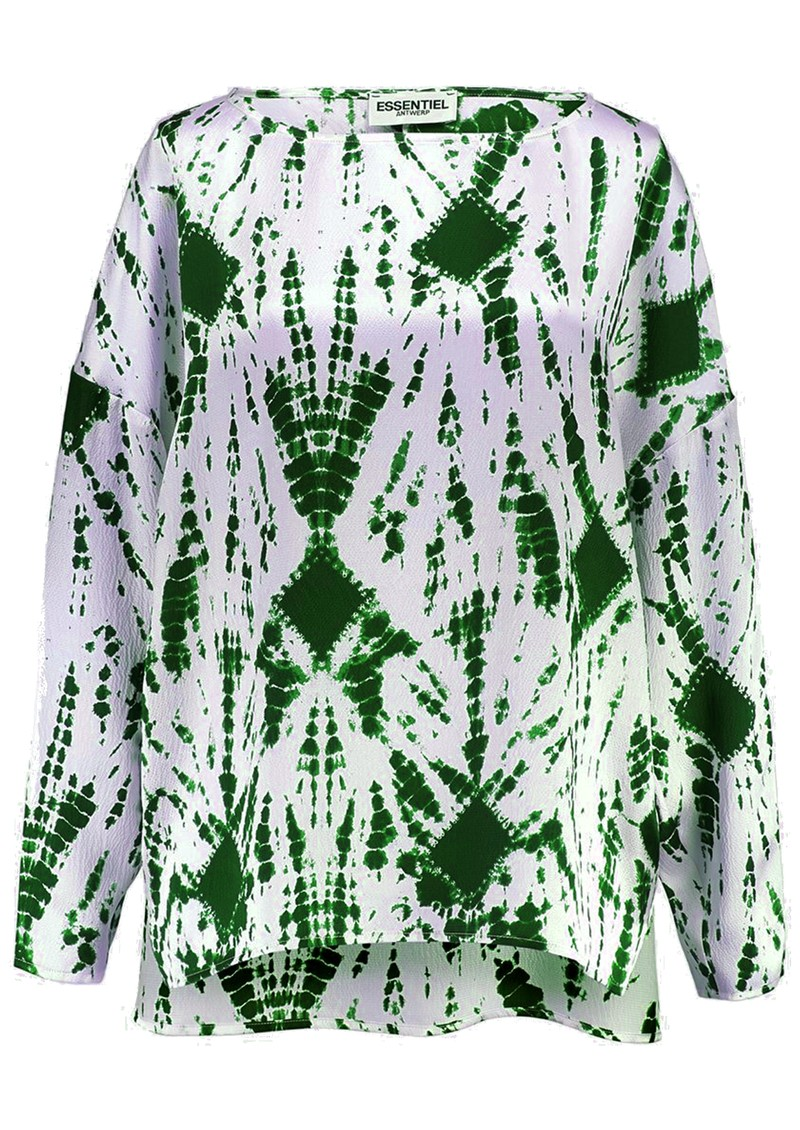 ESSENTIEL ANTWERP Viktoria Dropped Shoulder Tie-Dye Top - Green main image