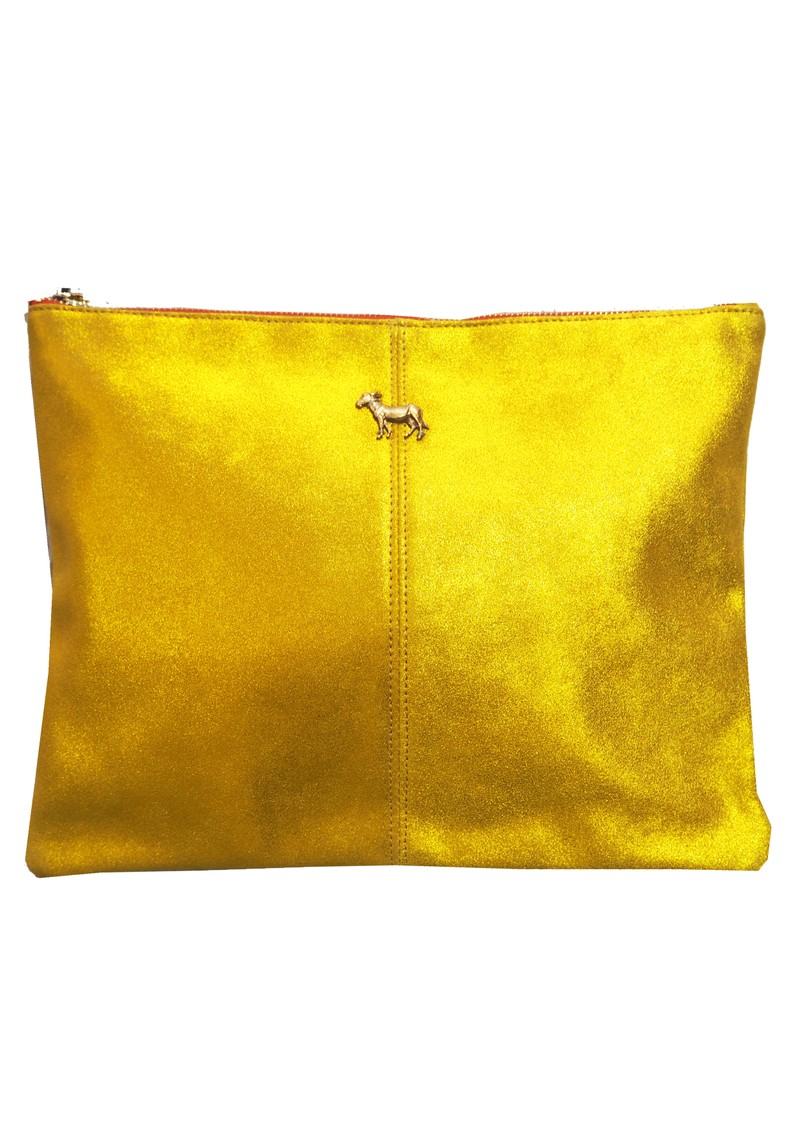 Sous Les Paves Sunrise Leather Donkey Clutch Bag - Paille main image