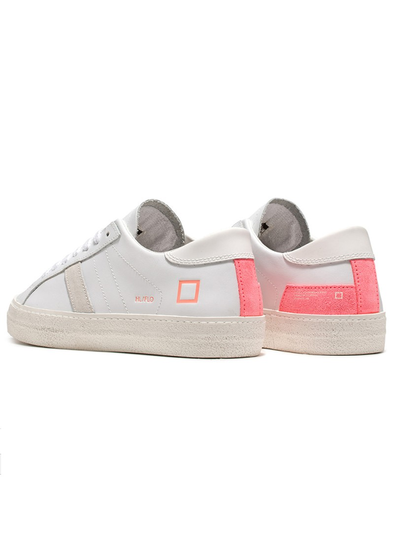 D.A.T.E Hill Low Trainers - White & Fluro Coral main image