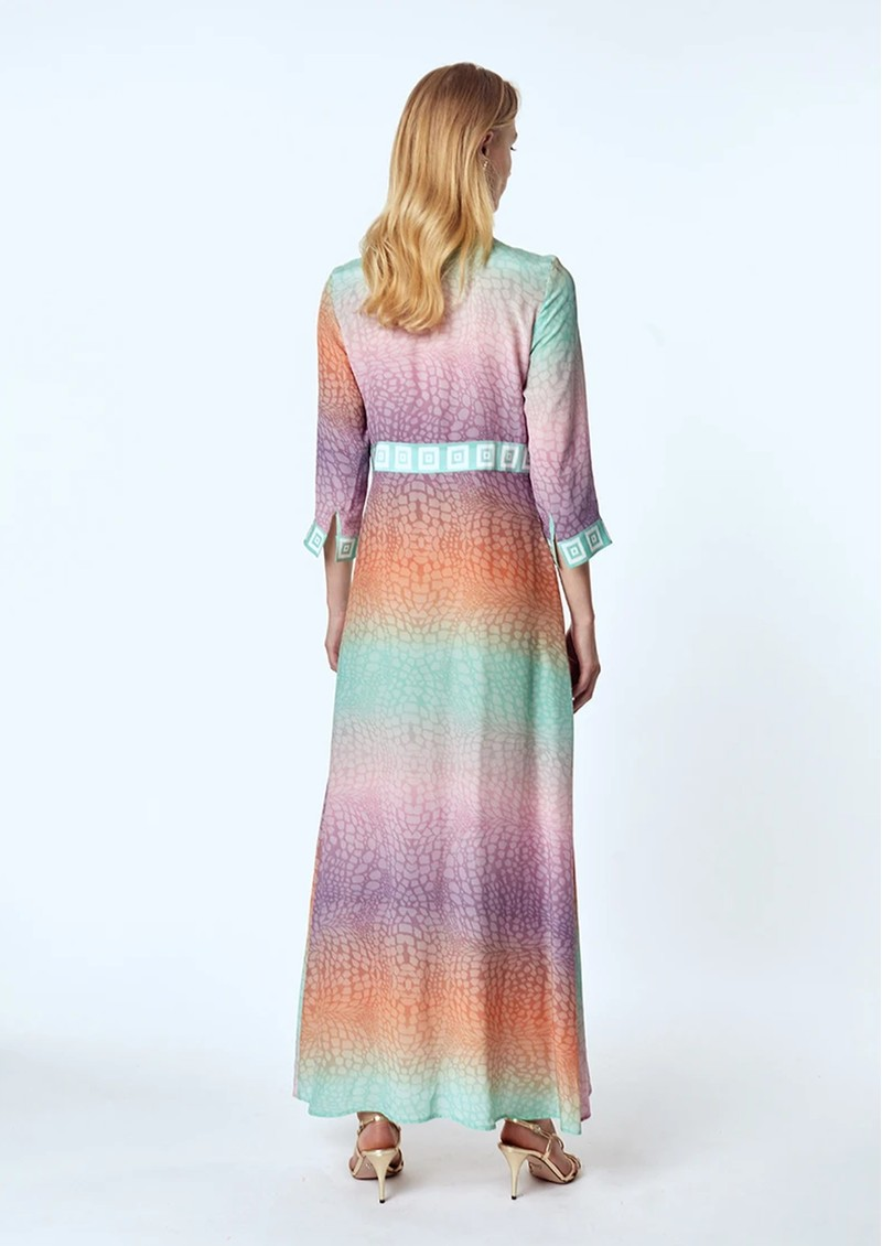 HAYLEY MENZIES Long Silk Shirt Dress - Ombre Crocodile Pastel main image