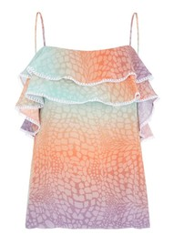 HAYLEY MENZIES Frill Silk Cami - Ombre Croc Pastel