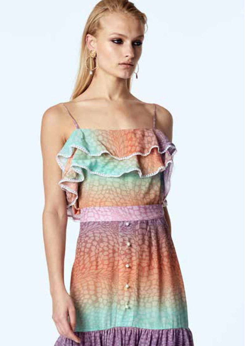 HAYLEY MENZIES Frill Silk Cami - Ombre Croc Pastel main image