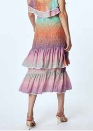 HAYLEY MENZIES Midi Frill Silk Skirt - Ombre Crocodile Pastel
