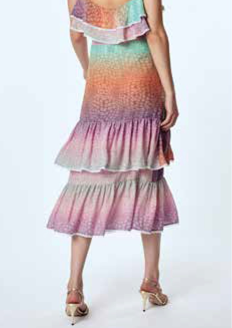 HAYLEY MENZIES Midi Frill Silk Skirt - Ombre Crocodile Pastel main image