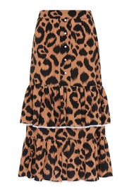 HAYLEY MENZIES Midi Frill Silk Skirt - Ikat