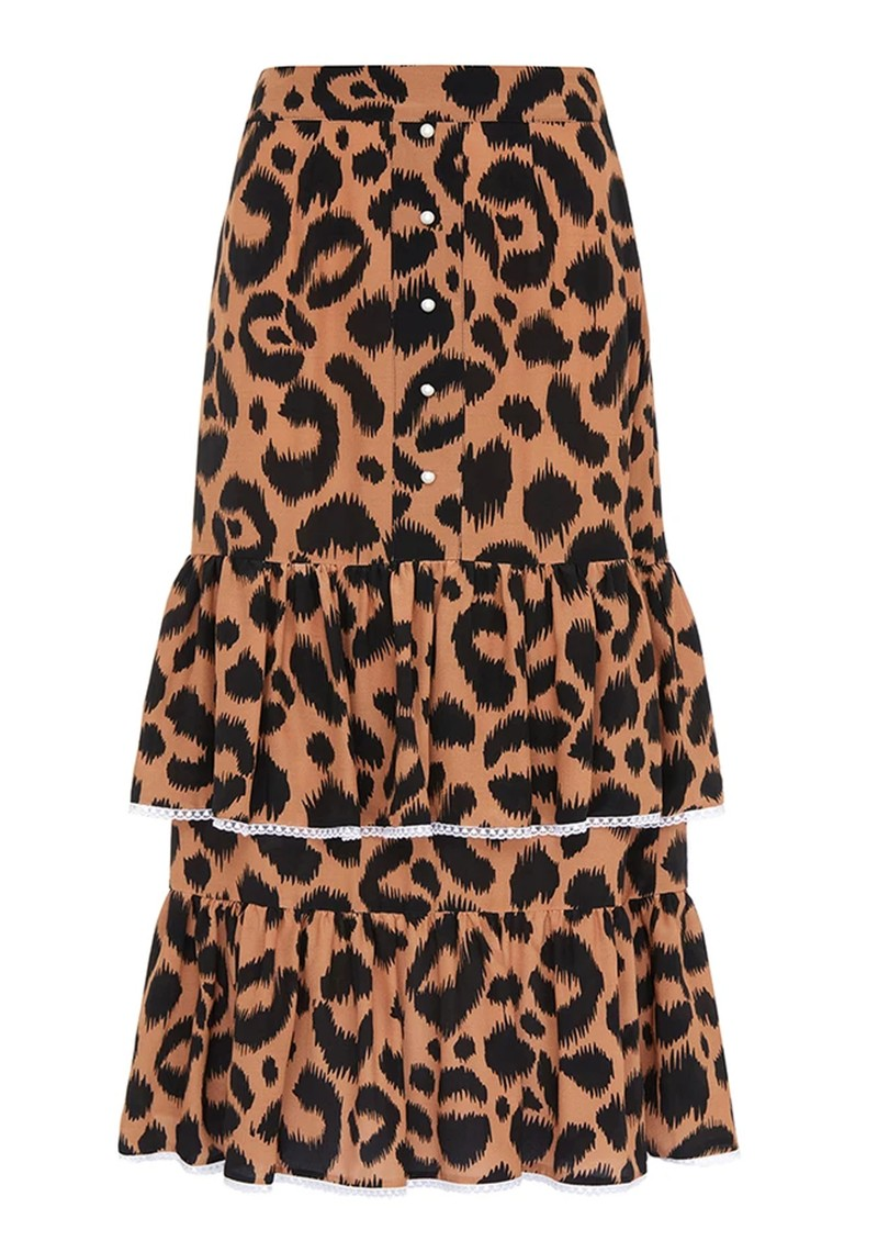HAYLEY MENZIES Midi Frill Silk Skirt - Ikat main image