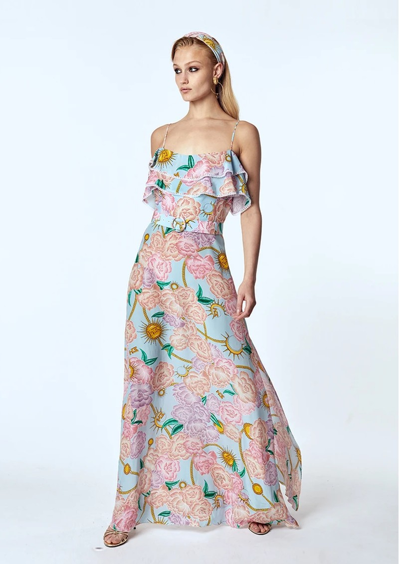 HAYLEY MENZIES Maxi Frill Silk Dress - Luna Floral main image
