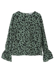 Lily and Lionel Dakota Silk Blouse - Sage Leopard