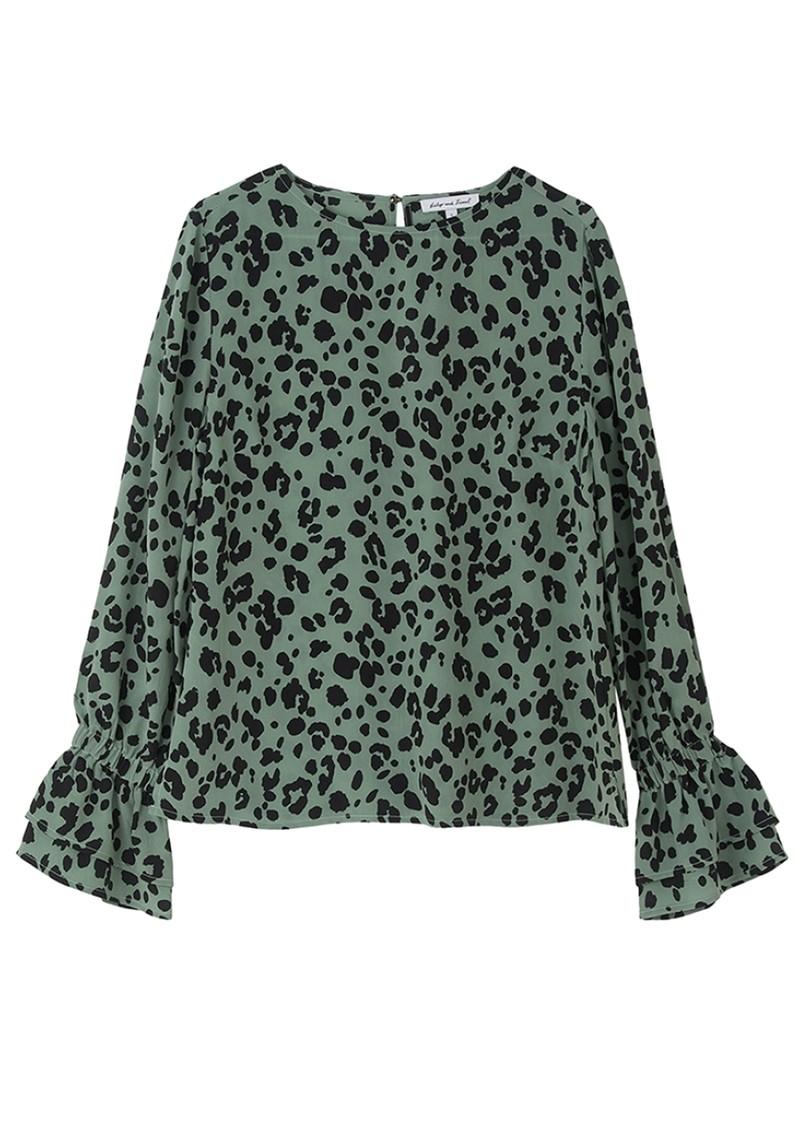 Lily and Lionel Dakota Silk Blouse - Sage Leopard main image