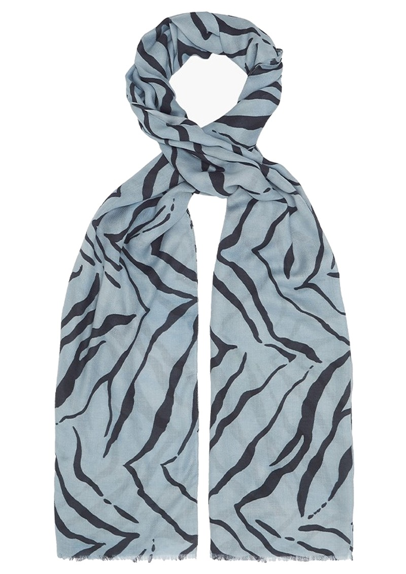 Lily and Lionel Blue Tiger Cashmere Mix Scarf - Blue main image