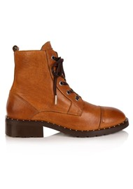 AIR & GRACE Jessa Lace Up Leather Boot - Tan
