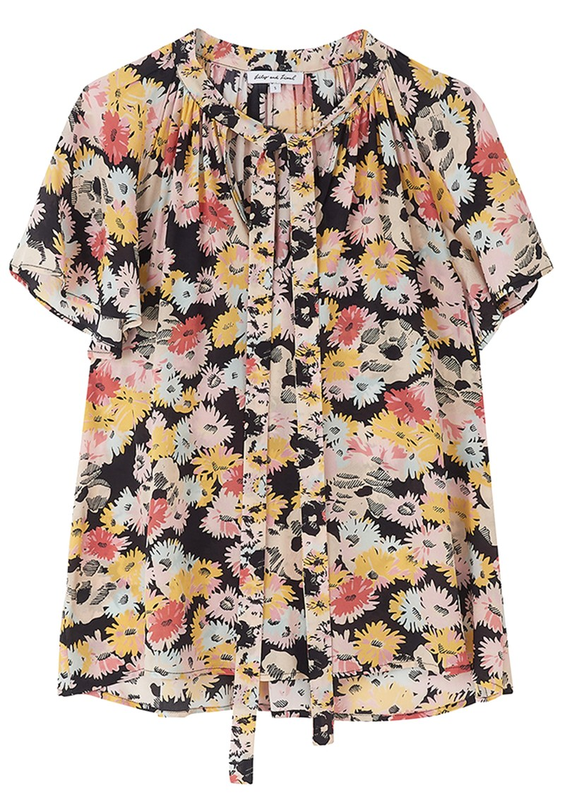 Lily and Lionel Madison Floral Silk Top - Confetti Black main image
