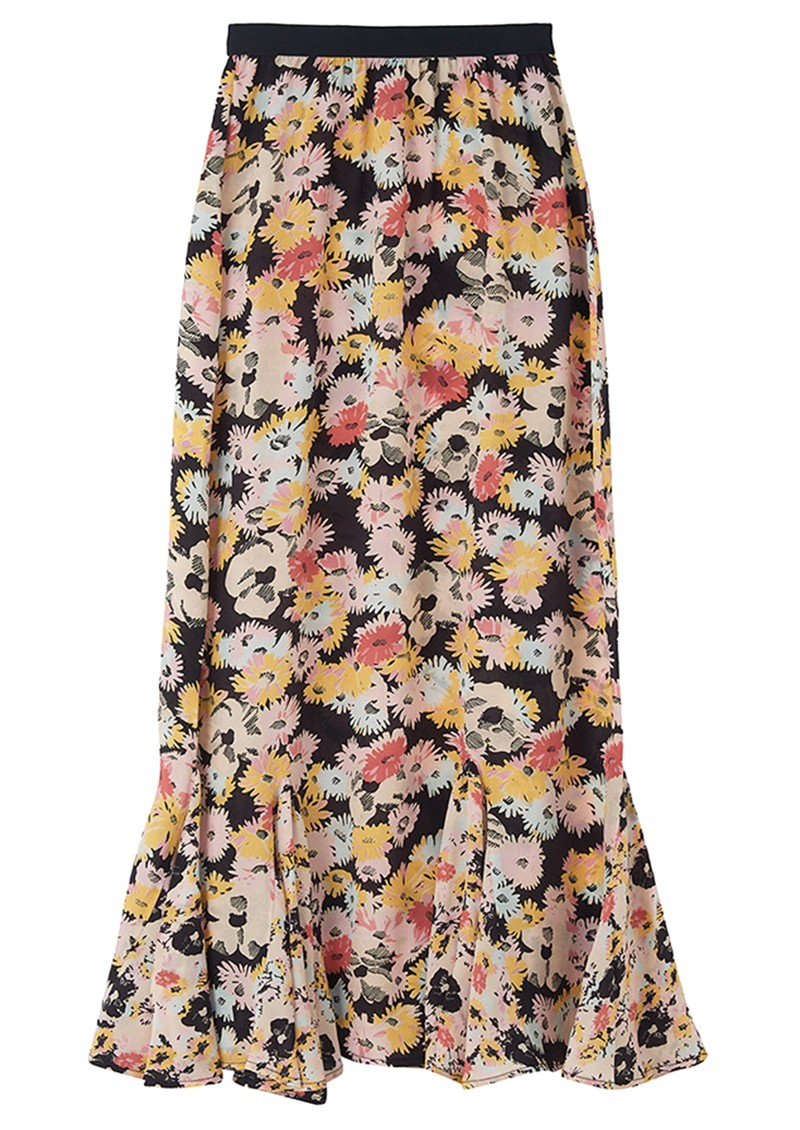 Lily and Lionel Ford Floral Silk Skirt - Confetti Black main image