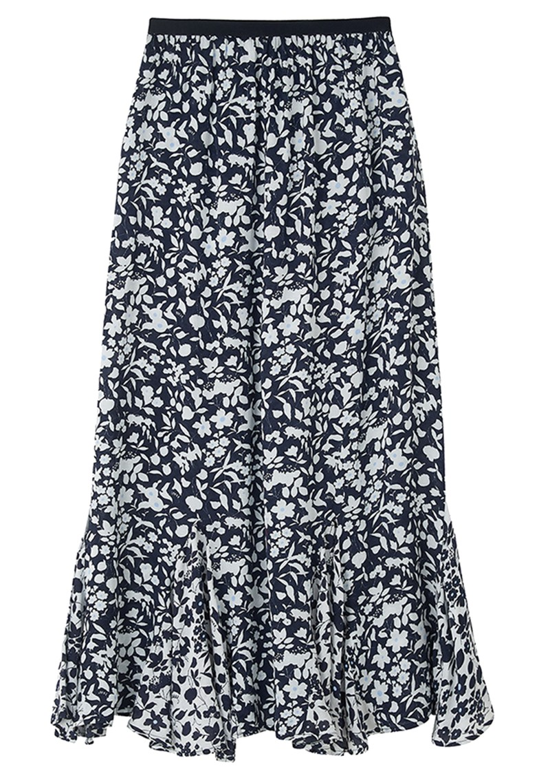 Lily and Lionel Ford Floral Silk Skirt - Blossom Navy main image
