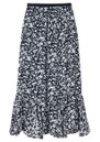Lily and Lionel Ford Floral Silk Skirt - Blossom Navy