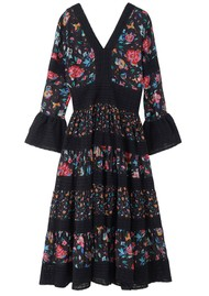 Lily and Lionel Frida Silk Mix Floral Printed Dress - Hibiscus Black