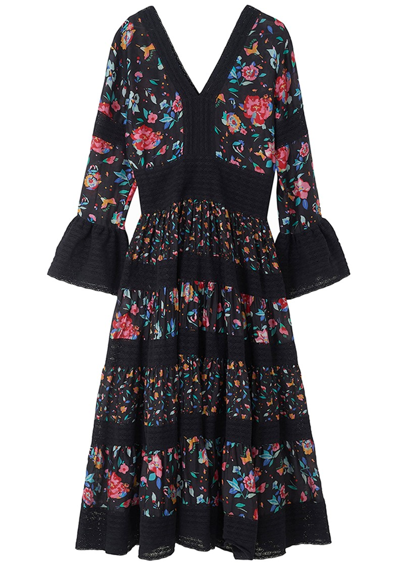 Lily and Lionel Frida Silk Mix Floral Printed Dress - Hibiscus Black main image