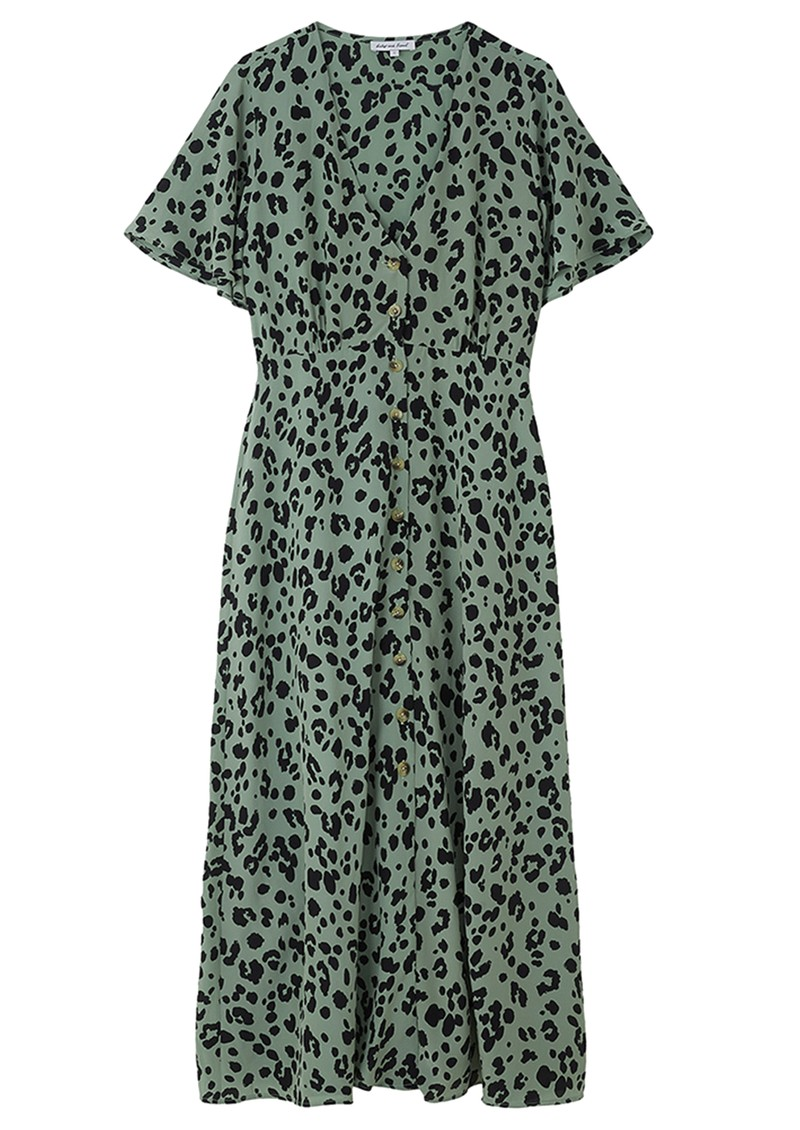 Lily and Lionel Lola Silk Printed Dress - Sage Leopard main image