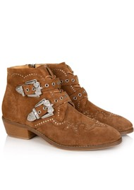 AIR & GRACE Starlight Suede Studded Ankle Boot - Tan
